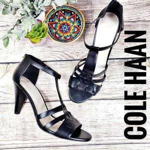 Cole Haan Heels 10B Black T Strap Zip Back Leather